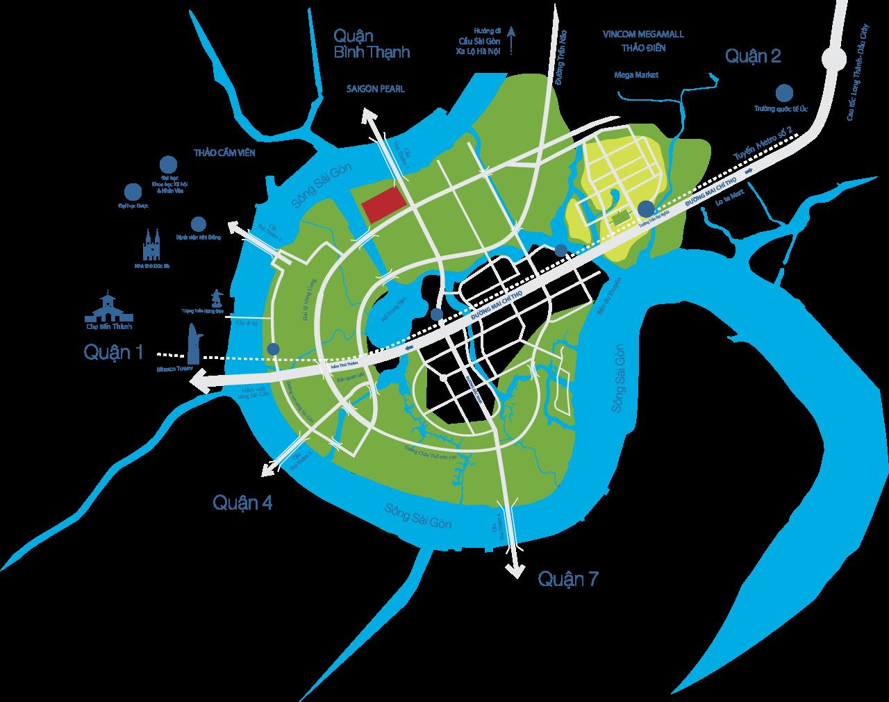Bảng đồ vị trí The River Thủ Thiêm