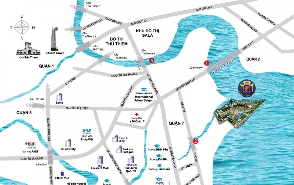 bảng đồ vị trí dự án Saigon Peninsula