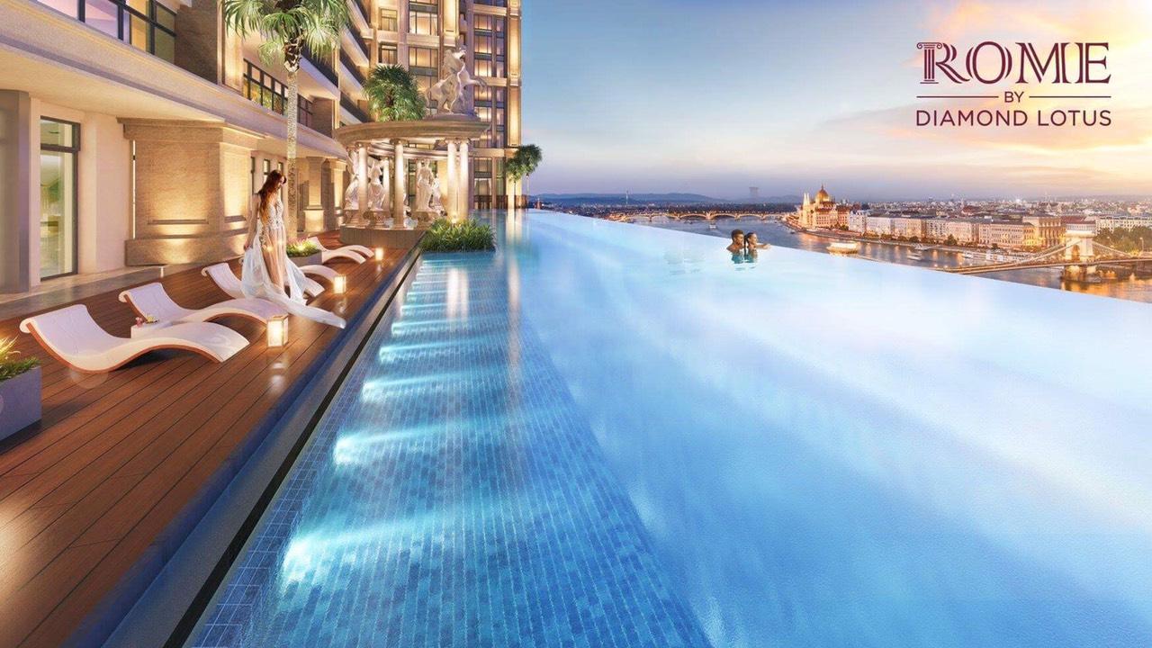 nghĩ dưỡng bên hồ bơi resort Rome by Diamond Lotus